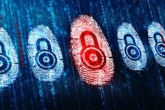 Prenda le impronte digitali all'esame sullo schermo digitale, fondo di sicurezza immagini stock