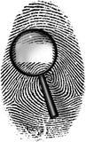 Prenda le impronte digitali ed ingrandica al vetro Fotografia Stock