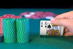 Prenda-os rei do ás do póquer Imagens de Stock