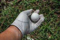 prenda un golfball su erba fotografie stock libere da diritti
