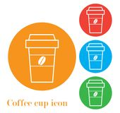 Prenda un'icona del segno del caffè con il logo dei chicchi di caffè Fotografia Stock