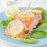 Prendedero de color salmón cocido con el limón y la espinaca Fotos de archivo libres de regalías