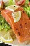 Prendedero de color salmón crudo con el limón y la pimienta Fotografía de archivo libre de regalías