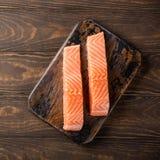 Prendedero de color salmón crudo fresco, endecha plana Fotos de archivo