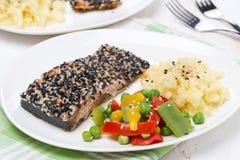 Prendedero de color salmón rosado en el sésamo, verduras, patatas Fotografía de archivo