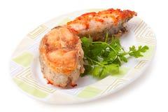 Prendedero de pescados con la salsa de tomate Imagen de archivo