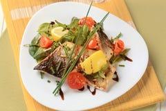 Prendedero de pescados con verdes y tomates de la ensalada Imágenes de archivo libres de regalías
