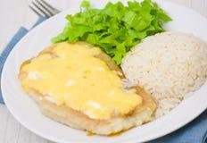 Prendedero de pescados debajo del queso con arroz y ensalada Imágenes de archivo libres de regalías