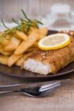 Prendedero de pescados frescos y patatas fritas en una placa Fotos de archivo libres de regalías
