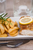 Prendedero de pescados frescos y patatas fritas en una placa Fotografía de archivo