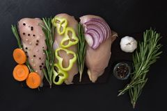 Prendedero del prendedero del pollo con el romero y las verduras, zanahorias pimienta, cebollas del ajo Imagen de archivo libre de regalías