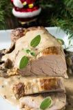 Prendedero delicioso del cerdo de carne asada con la salsa de seta Fotografía de archivo