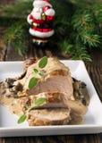 Prendedero delicioso del cerdo de carne asada con la salsa de seta Imagenes de archivo