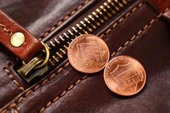 Prendedor e moeda de um centavo do zíper Imagem de Stock Royalty Free