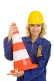 Prendendo um cone do tráfego Imagens de Stock Royalty Free