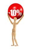 Prendendo um sinal do disconto de 10% Fotografia de Stock Royalty Free