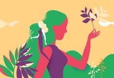 Prendre soin du jardin et de la Flora illustration libre de droits
