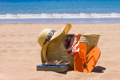 Prendre un bain de soleil des accessoires Photographie stock