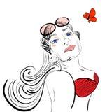 Prendre un bain de soleil la fille en silhouette rose en verre Image stock