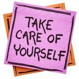 Prenez à soin de vous-même la note de rappel Photographie stock