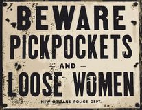 prenez garde des femmes desserrées de voleurs à la tire illustration stock