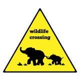 Prenez garde du poteau de signalisation d'éléphant Poteau de signalisation d'avertissement d'éléphant Poteau de signalisation d'a Image stock