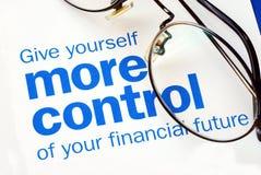 Prenez le contrôle de votre contrat à terme financier Image stock