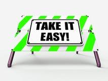 Prenez-le le signe que facile indique pour détendre le repos déroulent Image stock