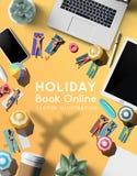 Prenotazione del concetto online di viaggio di viaggio di festa illustrazione vettoriale
