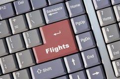 Prenotazione in linea di volo Fotografia Stock