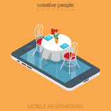 Prenotazione online della tavola isometrica piana del ristorante 3d Immagine Stock