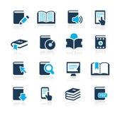 Prenoti la serie di azzurro di // delle icone Fotografia Stock