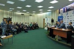 Prensa-conferencia Imágenes de archivo libres de regalías