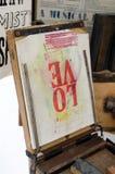 Prensa de la impresión de pantalla de la palabra del amor Fotos de archivo
