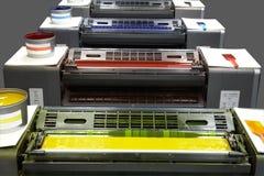 Prensa de la impresión en color cuatro imágenes de archivo libres de regalías