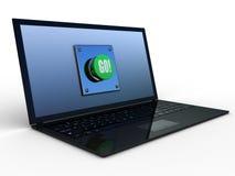 prensa de la tecnología del empuje del verde del botón 3d Fotos de archivo libres de regalías
