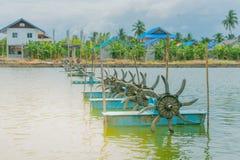 Prensa de la turbina para la charca del camarón Imagen de archivo