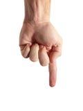 Prensa - dedo que señala abajo de (con el camino de recortes) Fotografía de archivo