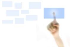 Prensa del dedo en un botón fotografía de archivo libre de regalías