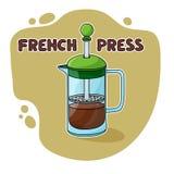 Prensa del francés para preparar del café Foto de archivo libre de regalías