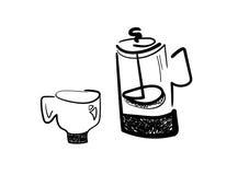 Prensa del francés y taza de café Fotografía de archivo