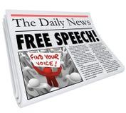 Prensa del periodismo de los medios de titulares del periódico del discurso libre Imagenes de archivo