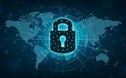Prensa desbloqueada de Internet de la cerradura a comunicar en Internet Red cibernética de la protección de la mano del concepto  libre illustration