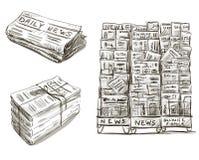 prensa Soporte de periódico Mano drenada Fotos de archivo libres de regalías