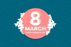Prentbriefkaar aan 8 Maart met witte bloemen Document kunstillustratie vector illustratie
