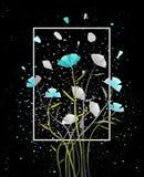 Prentbriefkaar Abstracte Bloemen op Zwarte vector illustratie