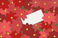 Prentbriefkaar in de bloemen Stock Foto's
