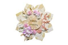 Prentbriefkaar in de stijl van het scrapbooking in de vorm van een bloem W Royalty-vrije Stock Fotografie
