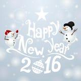 Prentbriefkaar Gelukkig Nieuwjaar met snowmans stock illustratie