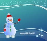 Prentbriefkaar gelukkige vakantie met sneeuwman, kleurrijke banner, blauw, stock illustratie